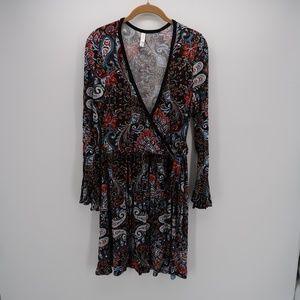 Xhilaration Boho V- Neck Pleated Long Sleeve Dress